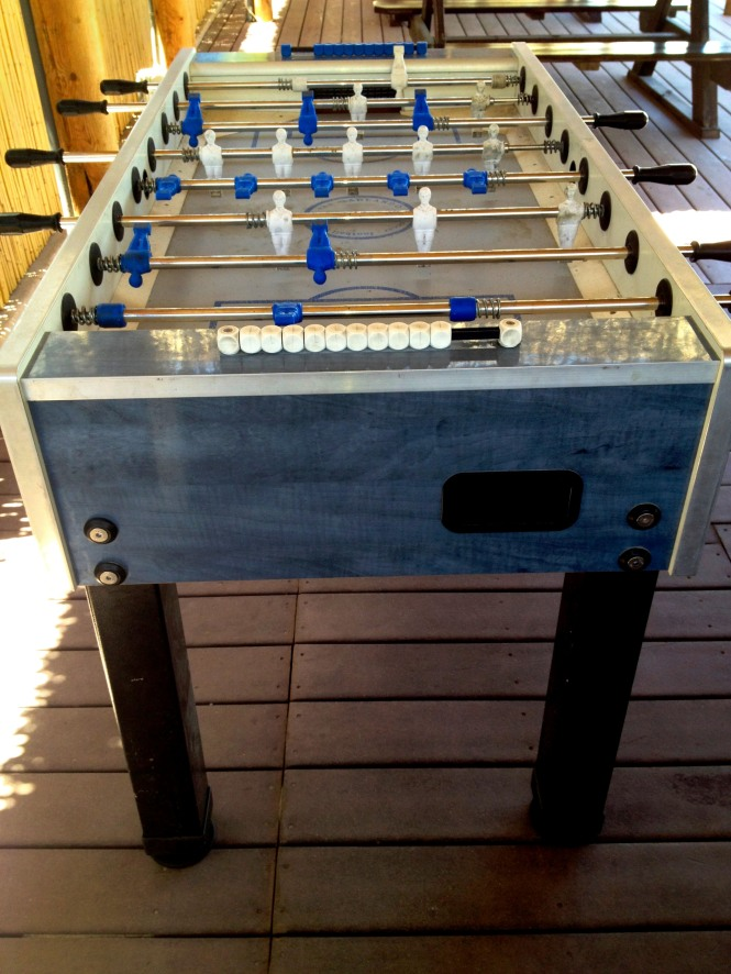 i still have not seen a fooseballl table require more spare change than a dollar bill. a classic game at the arcade.